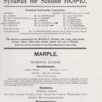 Evening Classes : Marple High & Willows Schools : 1909,1939 & 1952